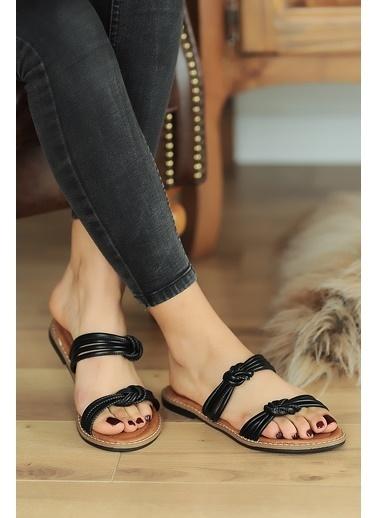 Pembe Potin A2074-20 Kadın sandalet Siyah